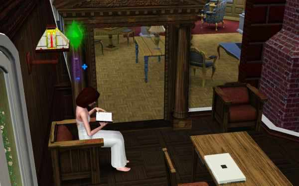 Reading a book in the Sims 3