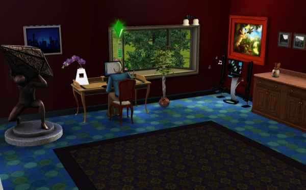 Writing a novel in a beautifully decorated room in the Sims 3