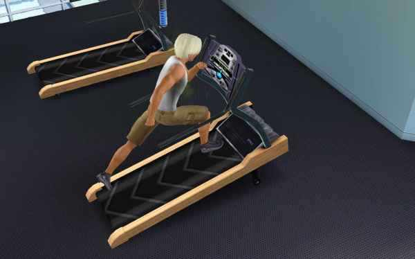 My Sim running on a treadmill to raise his athletic skill in the Sims 3