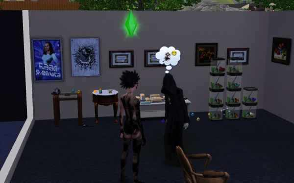 Abby with the Reaper in the Sims 3 with a beautiful collection of gems rocks and butterflies in the background