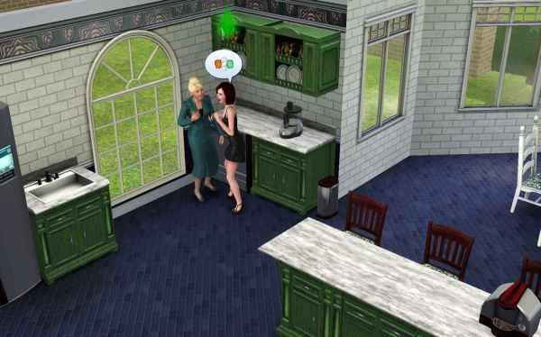 My Gold Digger chatting it up with Nancy Landgraab in the Sims 3