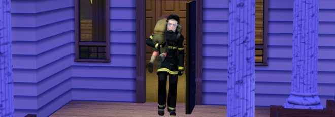 The Sims 3 Ambitions - A firefighter rescues a Sim