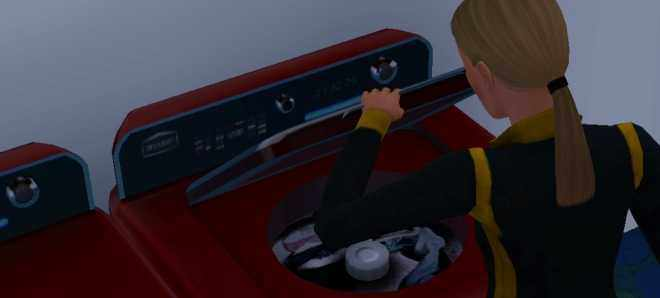 The Sims 3 Ambitions - Sim doing Laundry