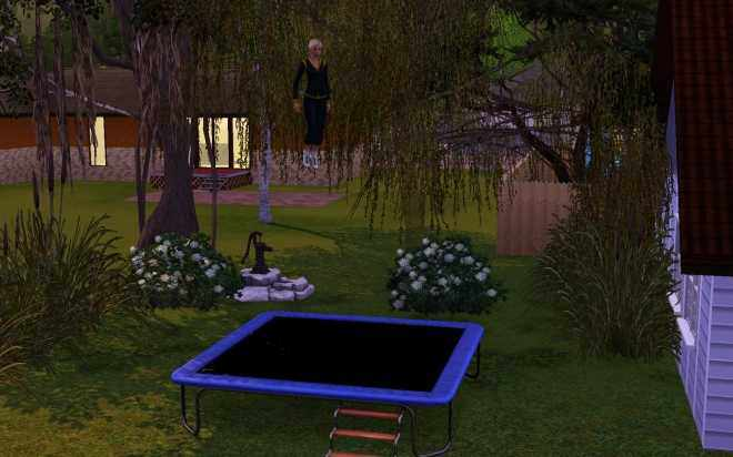 The Sims 3 Ambitions - A Sim on the new Trampoline