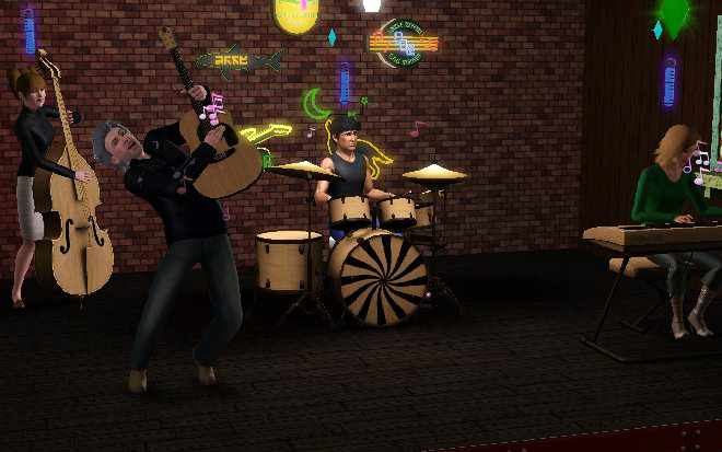 A Sims band performing music