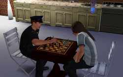This cop kicked my Sim's butt in chess the first time around, but it was great practice.
