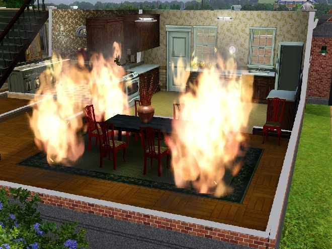 A Dining Room Engulfed in Flame in The Sims 3