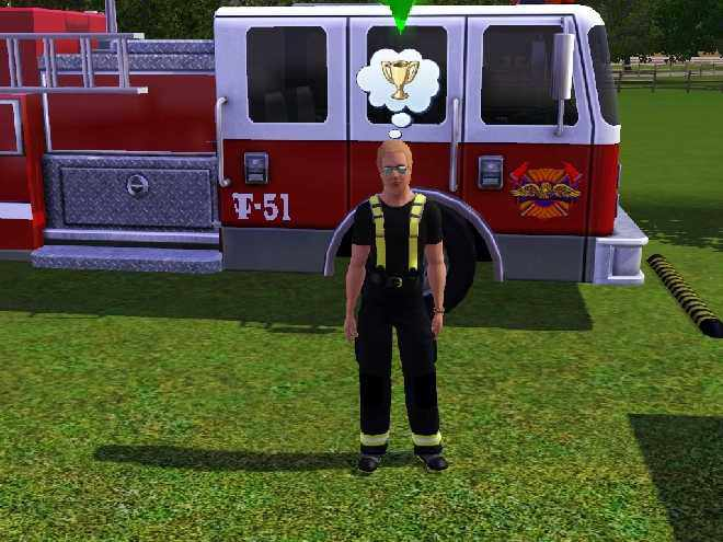 Level 10 Fire Chief in the Sims 3's Firefighter Profession