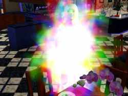 A ghost in the Sims 3 being resurrected by Ambrosia