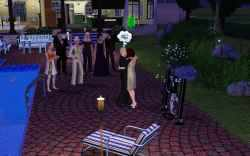 The Sims 3 Gold Digger: The black widow in white purity, taking her victim.