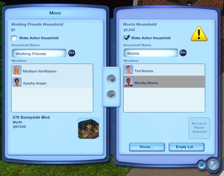 The Sims 3 Households: Switching, Saving, and Moving Families