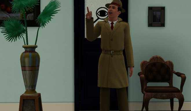 The Sims 3 Ambitions Private Investigator Career Guide - Introductory shot - a mid-level Investigator uniform and the frosted door