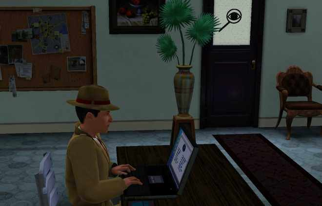 The Sims 3 Ambitions Private Investigator Career Guide - Get your Private Eye a Laptop. You can also see the Case Board in the background.