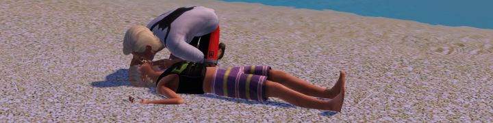A Lifeguard performs CPR on a drowned Sim