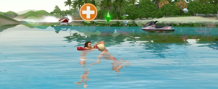A Lifeguard rescues a drowning Sim