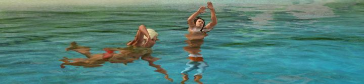A lifeguard swimming to rescue a Sim in The Sims 3 Island Paradise