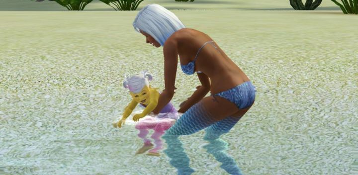 The Sims 3 Island Paradise Mermaids: A mother and child Mermaid