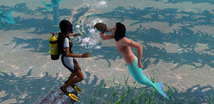 The Sims 3 Island Paradise Mermaids: An Evil Mermaid Summons a Shark