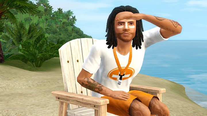 The Sims 3 Island Paradise - a Sim lifeguard watches over the swimmers