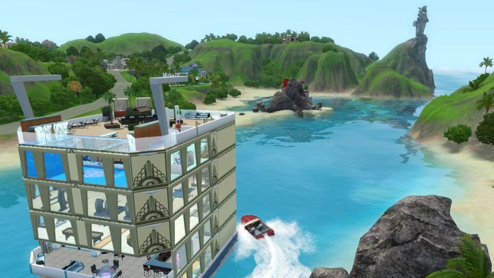 The Sims 3 Island Paradise - the island's statue in the distance