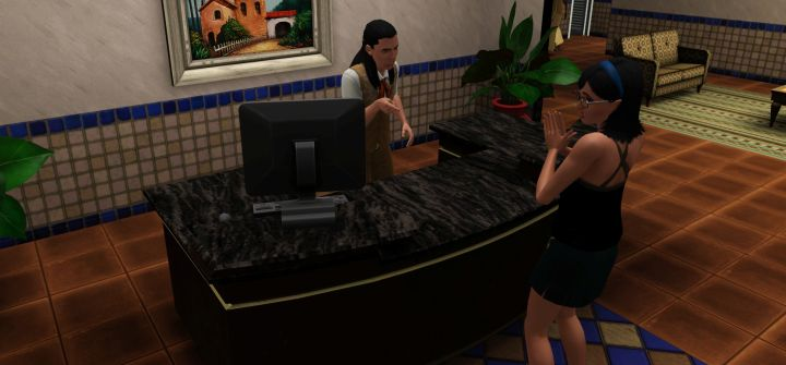Checking a Guest into the Resort in The Sims 3 Island Paradise