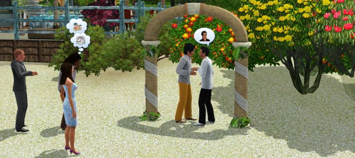 Sims getting married at a Resort in Isla Paradiso