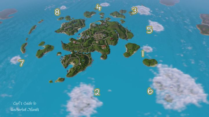 An Island Paradise Map marking the locations of all eight uncharted islands with their names below