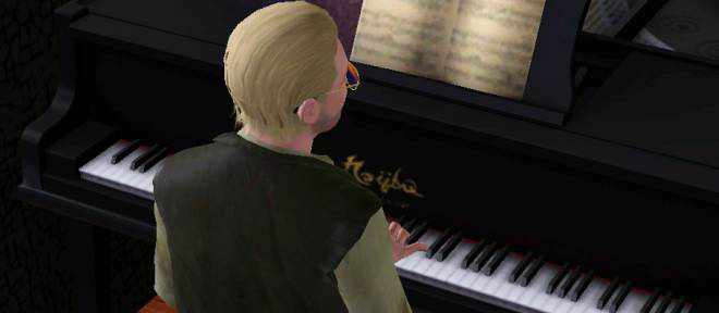 A Sim playing a Grand Piano in Late Night
