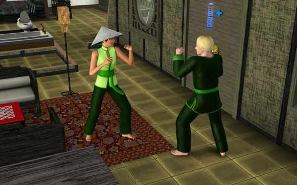 The Sims 3 World Adventures Screenshot: Sparring another Sim to raise the Martial Arts Skill