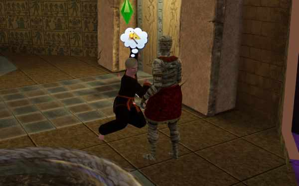 Sim Fighting a Mummy in the Sims 3 World Adventures