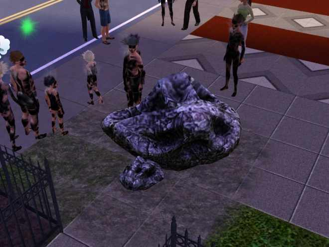 A meteor squashes a Sim in The Sims 3 Ambitions