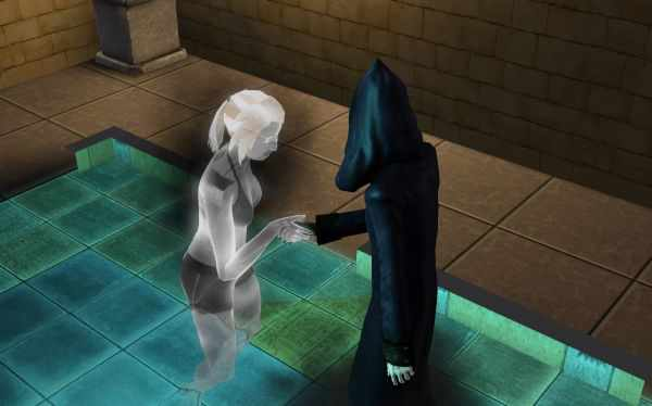 A ghost Sim killed by the mummy's curse in the Sims 3 World Adventures.