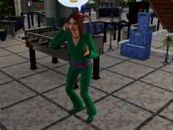 A teen on the phone in the Sims 3