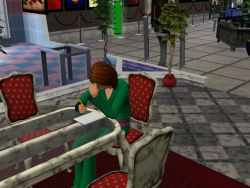A schoolage teen in the Sims 3 studying
