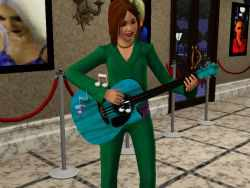 A teen playing guitar in the Sims 3