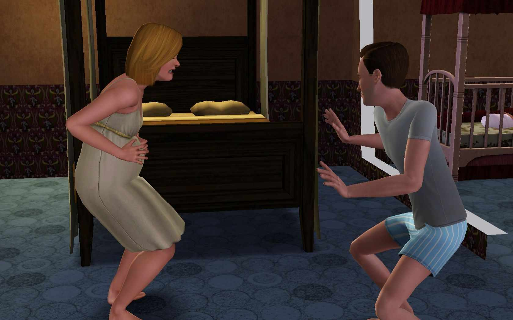 Sims 3 Parenting: A Sim In Contractions