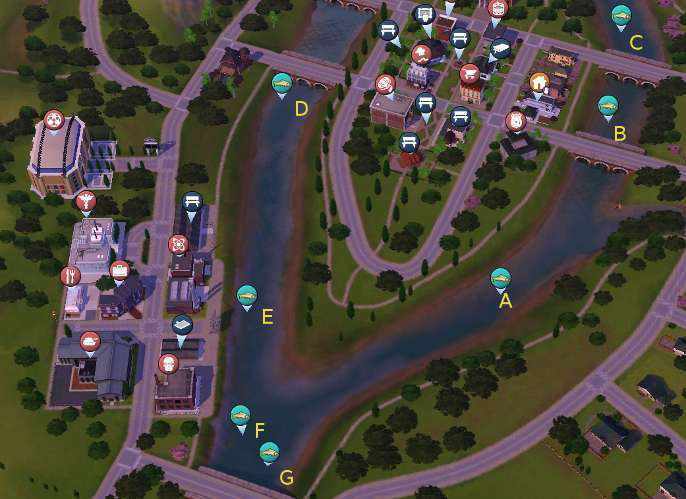 Riverview Fishing Map 1 - The Sims 3