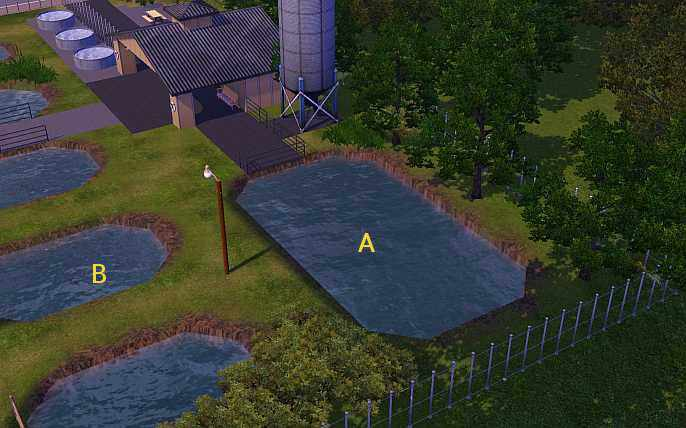 This screenshot shows the ponds at the riverview fish hatchery where you can catch saltwater fish in the Sims 3.