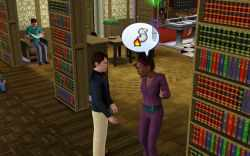 Chatting it up at the library in the Sims 3