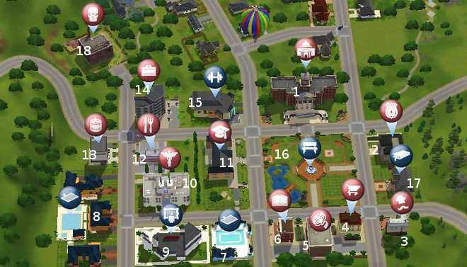 The Sims 3 World: Sunset Valley Town Guide