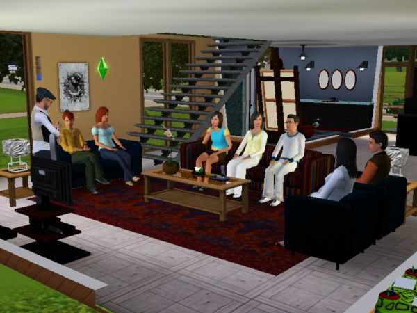 Surrounded by family in the Sims 3