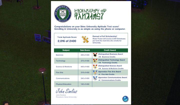 The Sims 3 University Life - The Aptitude Test