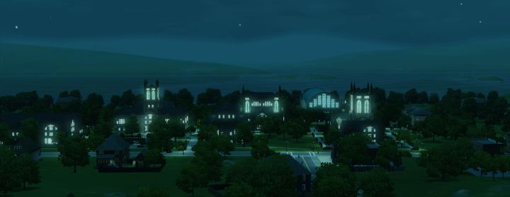 The Sims 3 University Life - Sim University Campus at Night