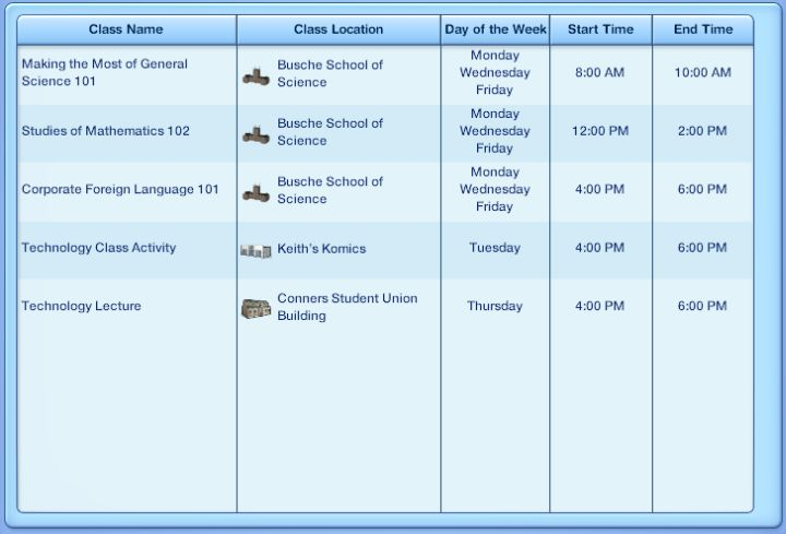 The Sims 3 University Life - Course Schedule