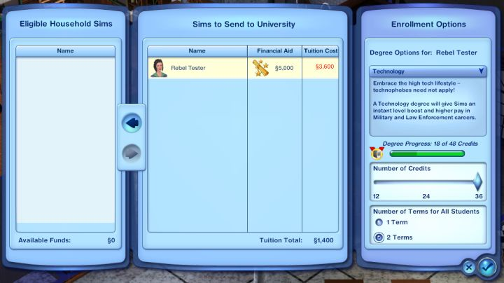 The Sims 3 University Life - Enrolling a Sim into College with a Scholarship