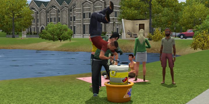 A Jock in The Sims 3 University doing a Juice Kegger stand