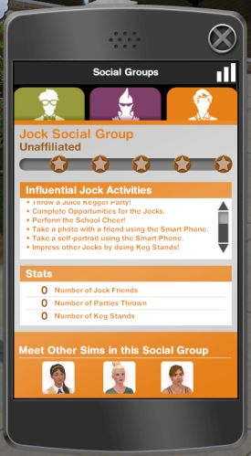 The Jock Social Group interface on the Smart Phone