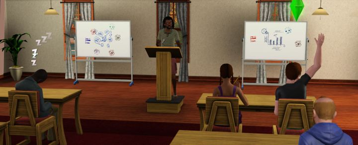 The Sims 3 University Life - A Student Asks a Question During a Professor's Lecture