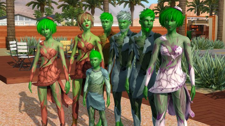 The Sims 3 University Life - A family of PlantSims showing their new clothing
