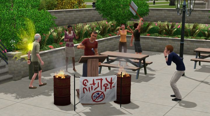 A Rebel at a protest in The Sims 3 University Life
